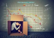Femme triste s'asseyant à l'intérieur de la boîte se cachant de la mauvaise économie images stock