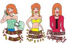 Femme - trois divers Image stock