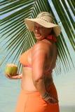 Femme tropicale de plage Photos libres de droits