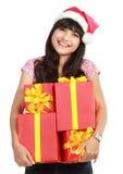 Femme utilisant le chapeau de Santa Photo libre de droits
