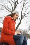 Femme utilisant PDA. images libres de droits