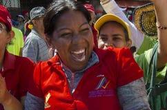Femme vénézuélienne célébrant une marche politique photo stock