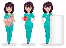 Femme vétérinaire, ensemble de trois poses illustration de vecteur