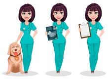 Femme vétérinaire, ensemble de trois poses illustration libre de droits
