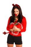 Femme Valentine de diable Photographie stock libre de droits