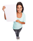 Femme vide moderne de sourire drôle de signe Image libre de droits