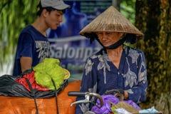Femme vietnamienne de ventes à Hanoï Image libre de droits