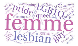 Femme Word Cloud. On a white background stock illustration