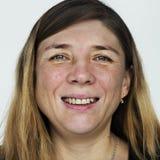 Femme Worldface-russe à un arrière-plan blanc Image libre de droits