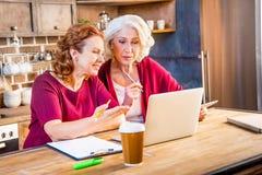 Femmes à l'aide de l'ordinateur portatif Image stock