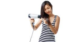 Femmes à l'aide du sèche-cheveux images libres de droits