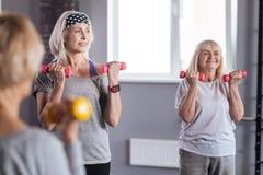 Femmes actives avec plaisir appréciant leur séance d'entraînement de forme physique Images libres de droits