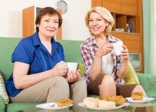 Femmes agées à la table avec le thé Images stock