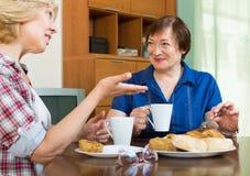 Femmes agées à la table avec le thé Image libre de droits