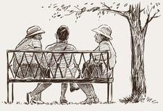Femmes agées en parc de ville Photographie stock libre de droits