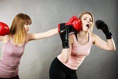 Femmes agressives combattant la boxe avec la femelle Photographie stock