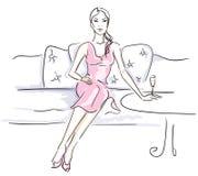 Femmes appréciant un cocktail illustration de vecteur