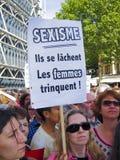 Femmes au sexisme féministe de protestation Images libres de droits