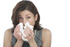 Femmes avec des allergies Photo stock