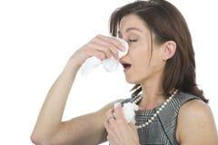 Femmes avec des allergies Image stock