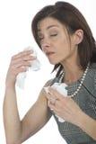 Femmes avec des allergies Image libre de droits