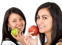 Femmes avec des pommes Photo stock