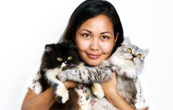 Femmes avec deux chats Image stock