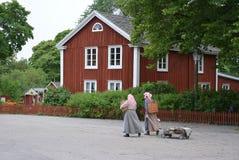 Femmes avec la maison suédoise traditionnelle image libre de droits