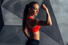 Femmes convenables posant et montrant la forme physique de sport de biceps images stock