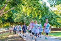 Femmes costumées marchant dans la course d'amusement de frénésie de couleur photo libre de droits