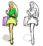 Femmes d'achats avec un sac Illustration de Vecteur