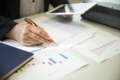 Femmes d'affaires regardant le fond de graphiques de gestion, de graphiques et de documents pour analyser les affaires Photo stock