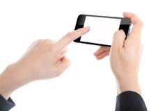 Femmes d'affaires tenant le téléphone intelligent images stock