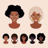 Femmes d'afro-américain avec de diverses coiffures Illustration Stock