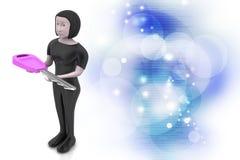 femmes 3d avec la clé Image libre de droits
