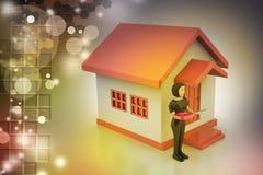 femmes 3d avec la maison et la clé Photographie stock libre de droits