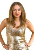 femmes d'or de belle robe jeunes image stock