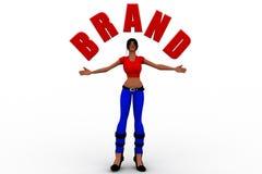 femmes 3d tenant la marque Photo stock