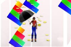 femmes 3d tenant la pluie de pièce d'or de parapluie et Photo libre de droits