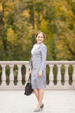 Femmes d'une chevelure rouges d'affaires dans le costume gris Photographie stock