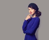 Femmes dans la robe bleue Photo libre de droits
