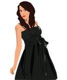 Femmes dans la robe noire Photos libres de droits