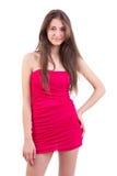 Femmes dans la robe rouge Images libres de droits