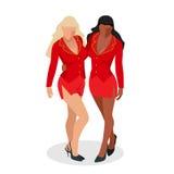 Femmes dans la robe rouge Deux femmes d'une forte poitrine sexy avec de grands seins et un beau corps dans un équipement rouge co Photographie stock libre de droits