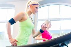 Femmes dans le gymnase faisant le sport sur le tapis roulant Image stock