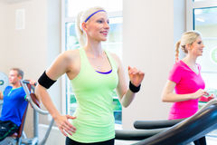 Femmes dans le gymnase faisant le sport sur le tapis roulant Photo stock