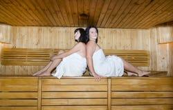 Femmes dans le sauna Photographie stock