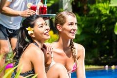 Femmes dans les vacances à la piscine asiatique d'hôtel avec des cocktails Photo stock