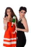 Femmes de bonheur tenant le verre et la bouteille Photo libre de droits