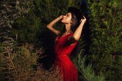 Femmes de brune de beauté dans la pose rouge de robe et de chapeau au parc de nuit Photos stock